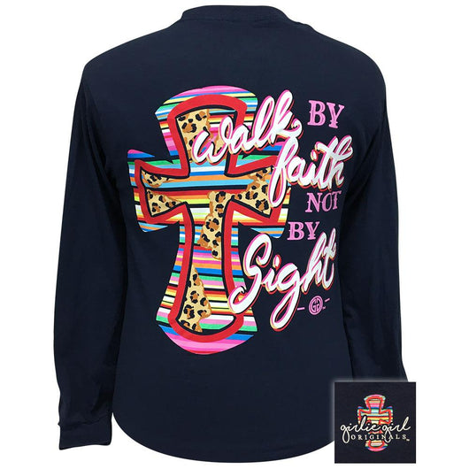 Serape Leopard Cross Navy Long Sleeve 2344