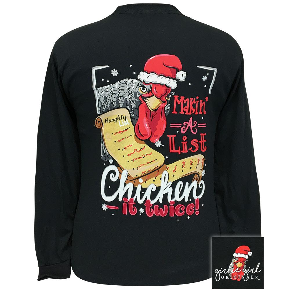 Chicken It Twice Black Long Sleeve - 2347