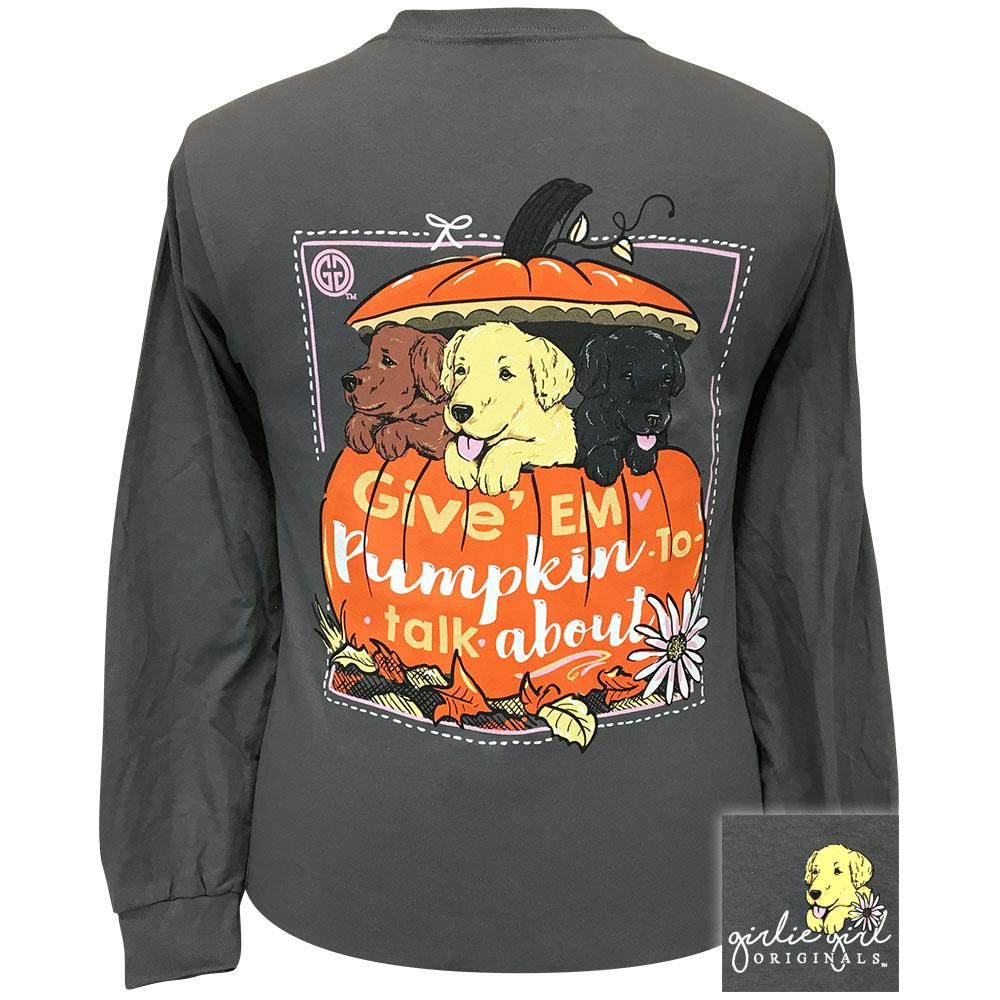 Puppy Pumpkin Charcoal Long Sleeve 2353
