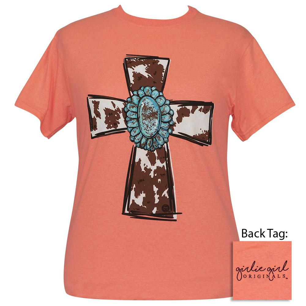 Turquoise Cow Cross Retro Heather Coral SS-2407