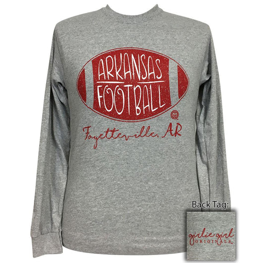 Arkansas Football Sports Grey Long Sleeve T-Shirt