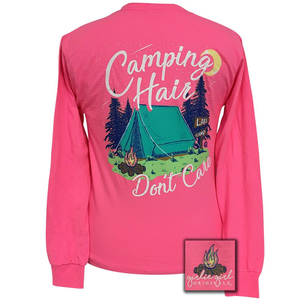Camping Hair Neon Pink Long Sleeve