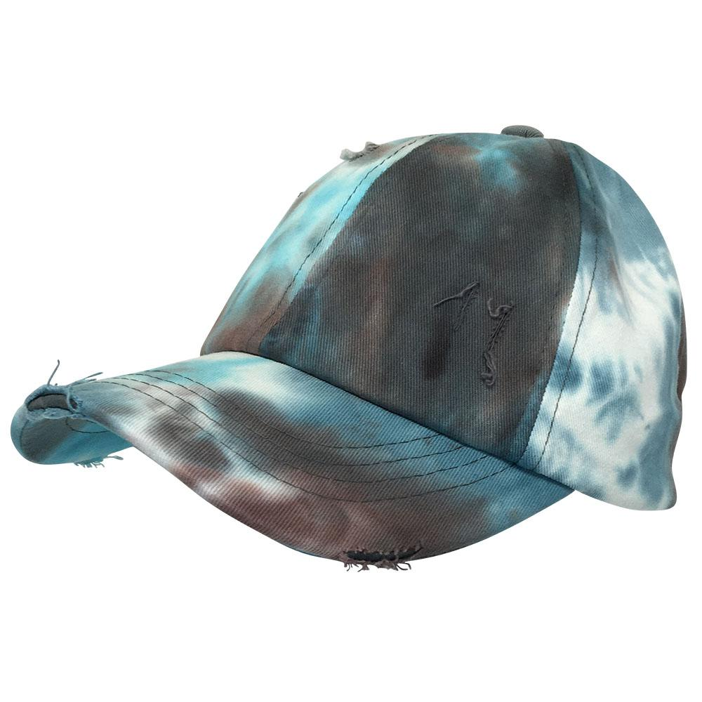 BT-791 C.C Criss Cross Tie Dye Pony Cap BROWN
