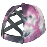 BT-791 C.C Criss Cross Tie Dye Pony Cap GREY