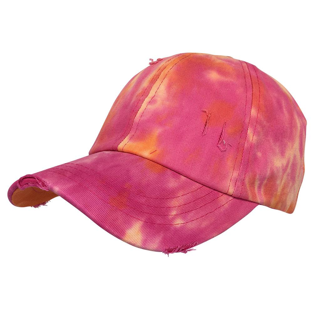 BT-791 C.C Criss Cross Tie Dye Pony Cap ORANGE