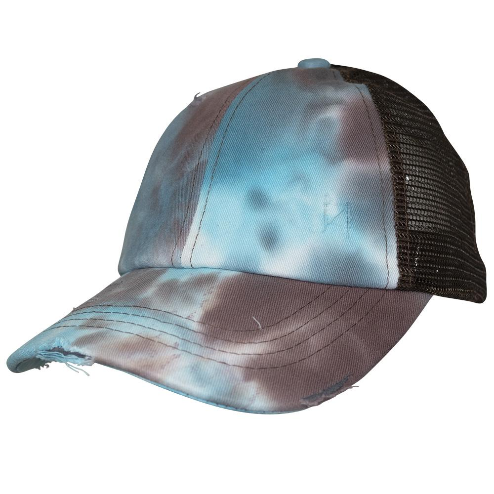 BT-924 C.C Criss Cross Pony Cap Tie Dye Brown/Brown