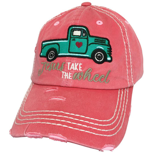 KBV-1235 Jesus Take The Wheel Cap Hot Pink
