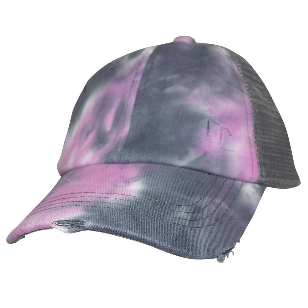 BT-791 Kids C.C Criss Cross Pony Cap Tie Dye Grey/Grey
