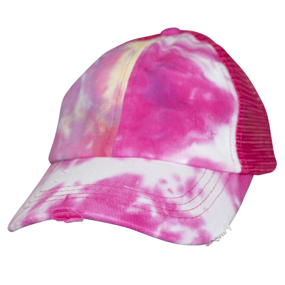 BT-791 Kids C.C Criss Cross Pony Cap Tie Dye Hot Pink/Hot Pink