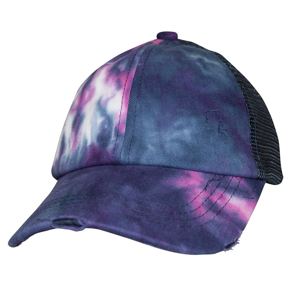 BT-791 Kids C.C Criss Cross Pony Cap Tie Dye Navy/Navy