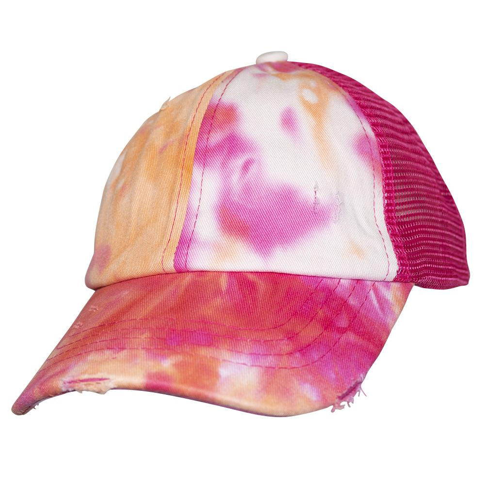 BT-791 Kids C.C Criss Cross Pony Cap Tie Dye Orange/Hot Pink