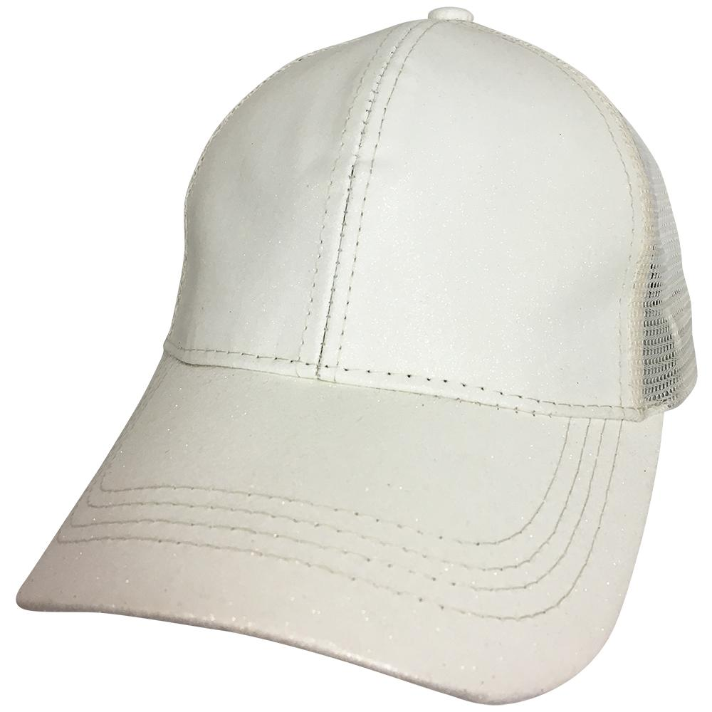 BT-6 C.C Beanie Pony Caps White Metallic