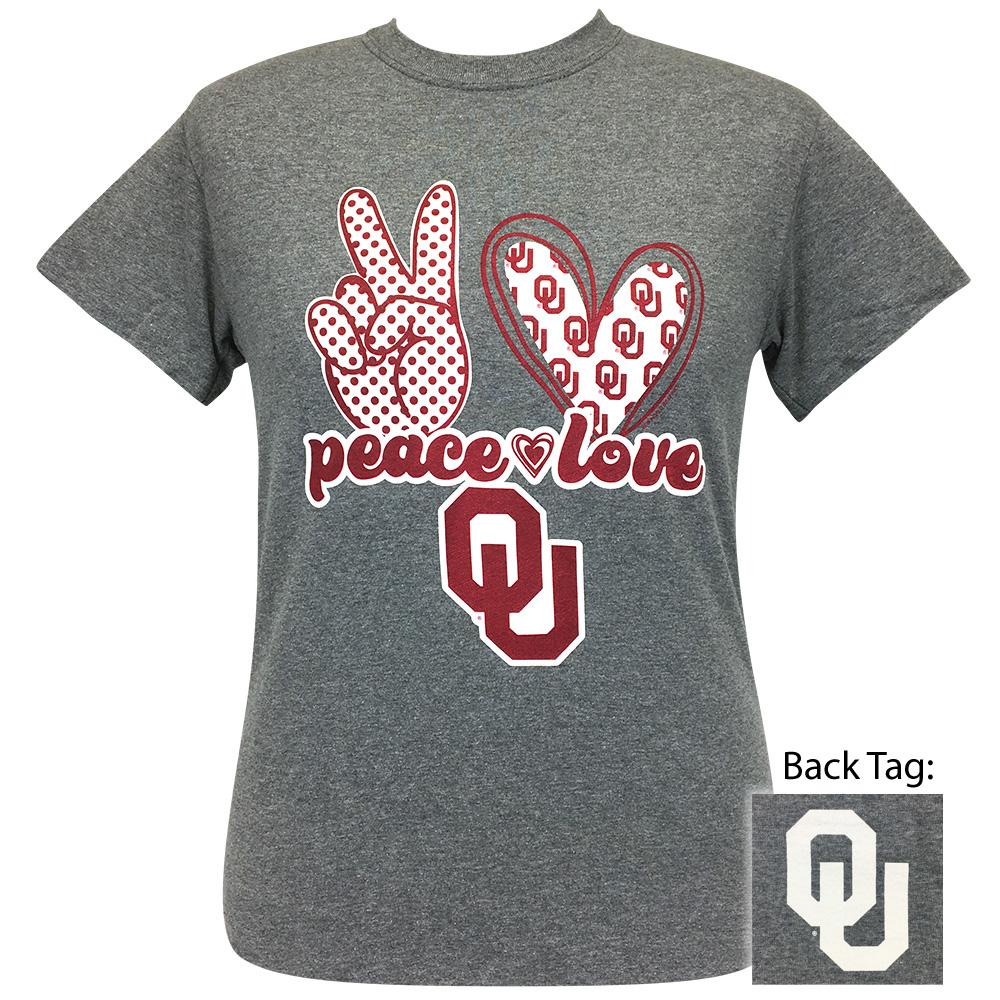 Peace Love OU Graphite Heather Short Sleeve