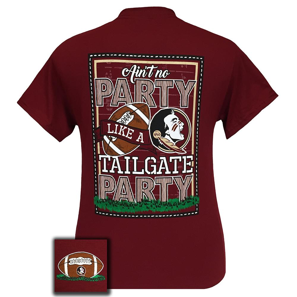 Back side of Ain't No Party Like A Tailgate Party FSU Seminoles Women's Short Sleeve Garnet Shirt