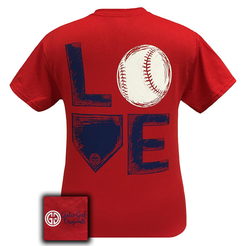 Love Baseball Red Short Sleeve