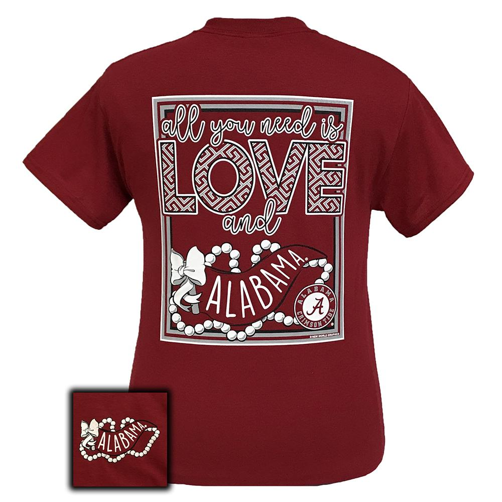 Short sleeve women's college shirt in cardinal red that has a graphic stating