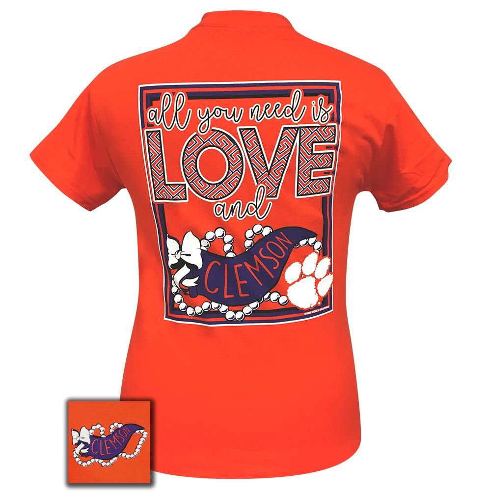 Front Angle of Orange All You Need Is Love And Clemson Tee Shirt