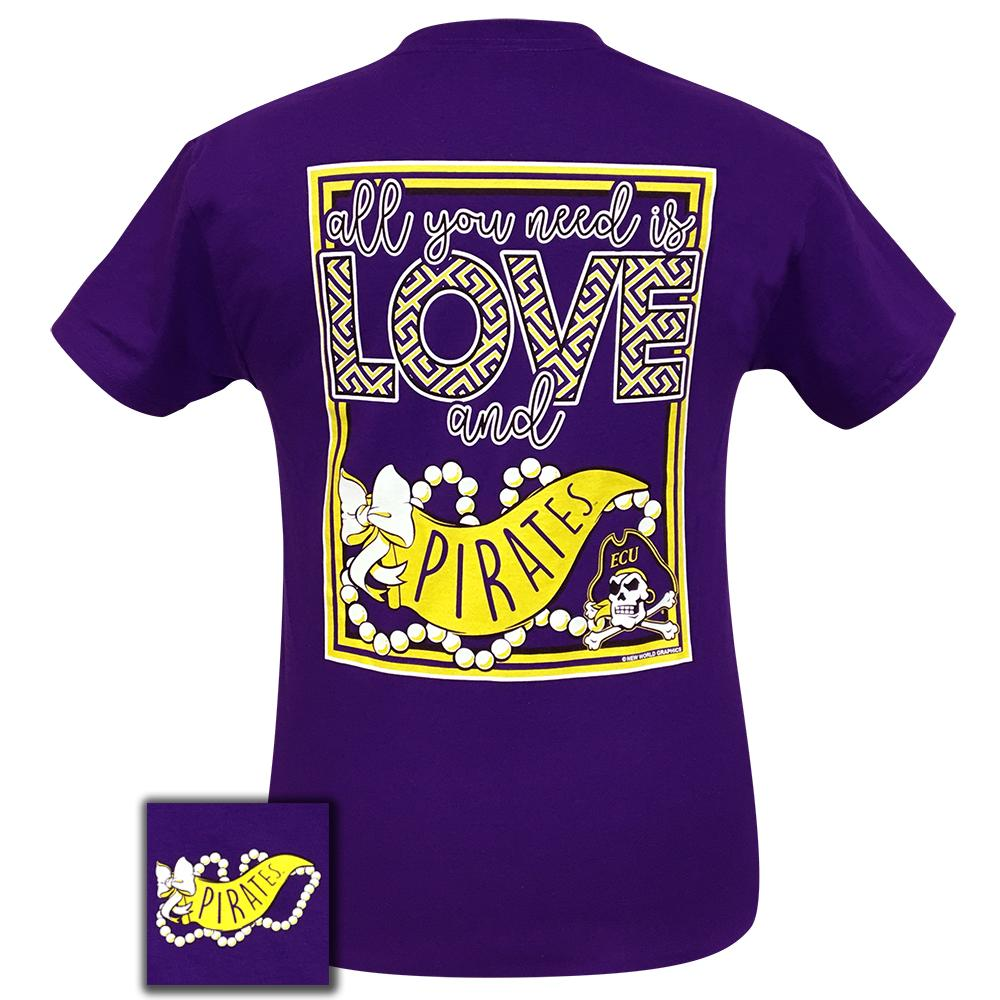 Image of All You Need Is Love And East Carolina University Pirates Short Sleeve Women's Purple Tee