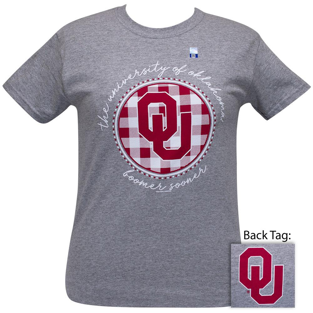 OU Short Sleeve Women's College Shirt (Buffalo Plaid / Sports Grey)