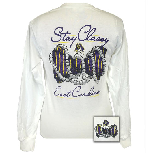 East Carolina Stay Classy White Long Sleeve