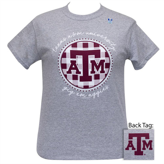 Texas A&M Short Sleeve Women's College Shirt (Buffalo Plaid / Sports Grey)