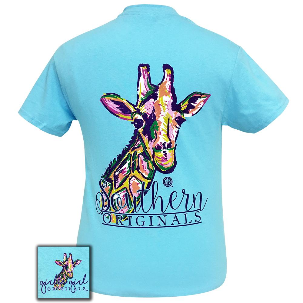 Watercolor Giraffe-2 Sky Blue Short Sleeve