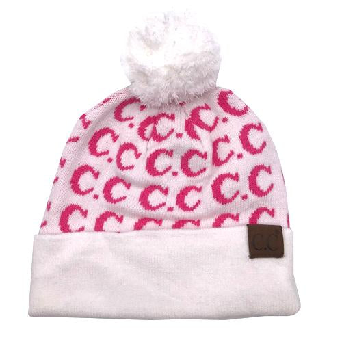 HAT-14 IVORY/NEW CANDY PINK LOGO BEANIE