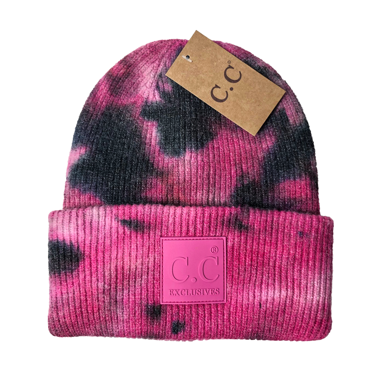 HAT-7380 Tie Dye Beanie with C.C Rubber Patch - Black/Hot Pink