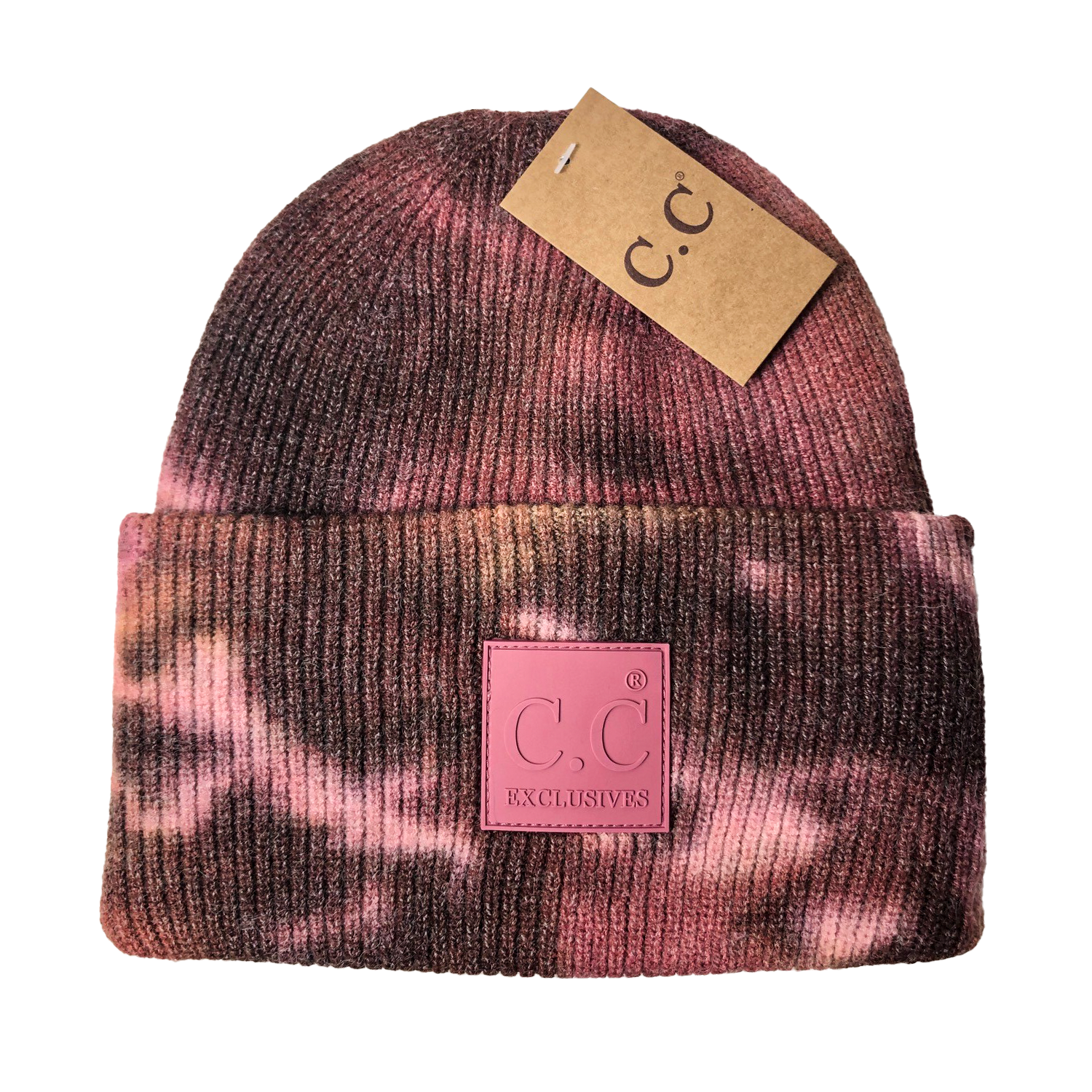 HAT-7380 Tie Dye Beanie with C.C Rubber Patch - Brown/Wild Ginger