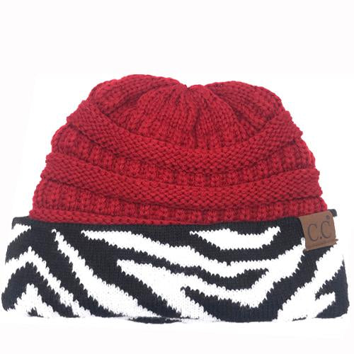 HAT-75 Red Zebra Print