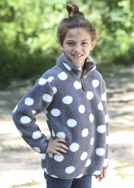 KIDS PD-4588 KID DOT DARK GREY/WHITE SHERPA