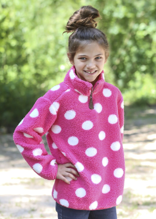 KIDS PD-4588 KID DOT NEW CANDY PINK/WHITE SHERPA
