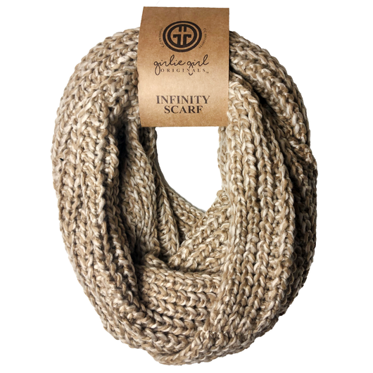 INF-123 BEIGE TAUPE CROCHET SCARF