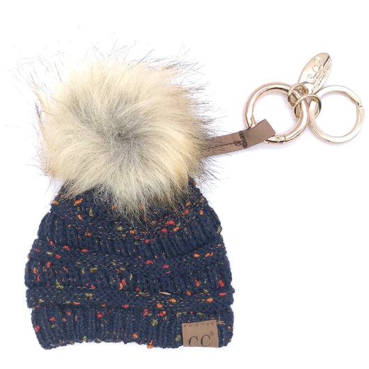 KB-33 Navy Speckled Beanie Keychain