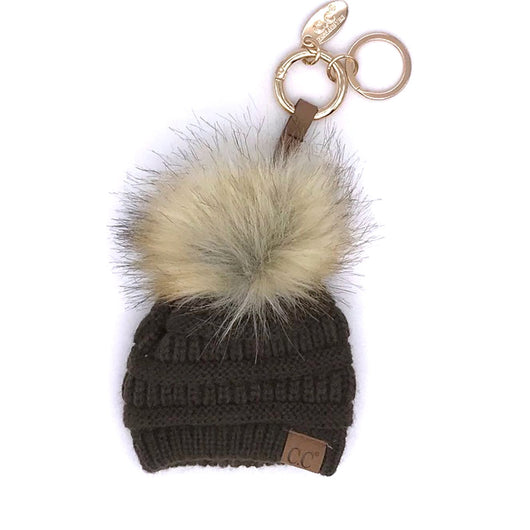 KB-43 Keychain W/FAUX FUR POM -Brown