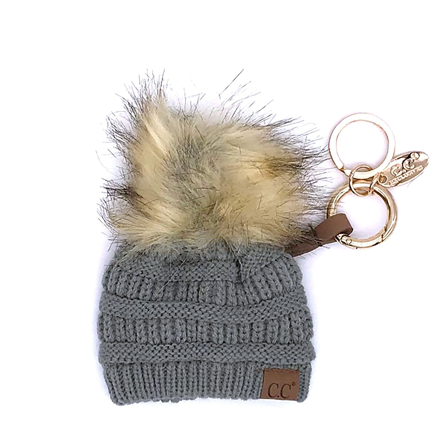 KB-43 Keychain W/FAUX FUR POM-Natural Grey
