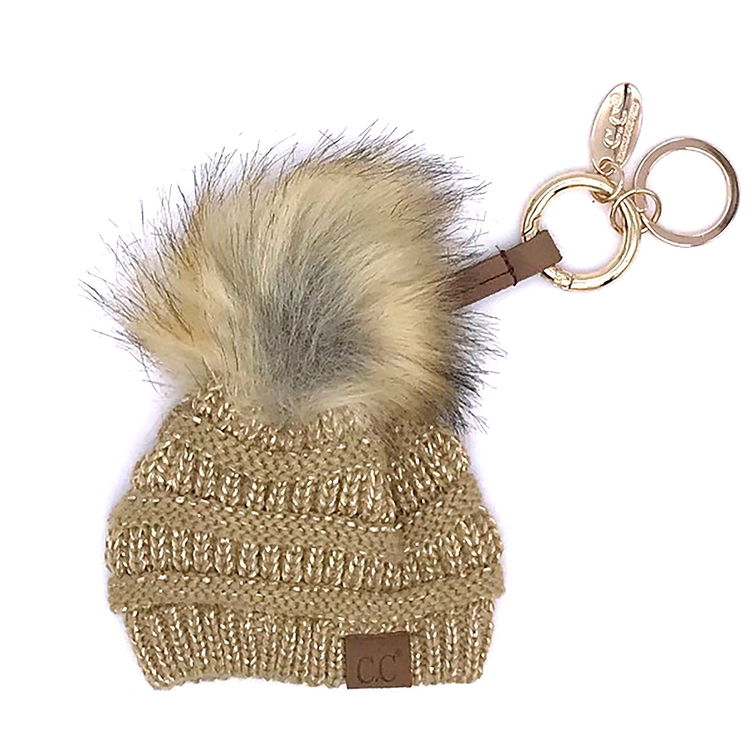 KB-43 Keychain W/FAUX FUR POM-Metallic Gold
