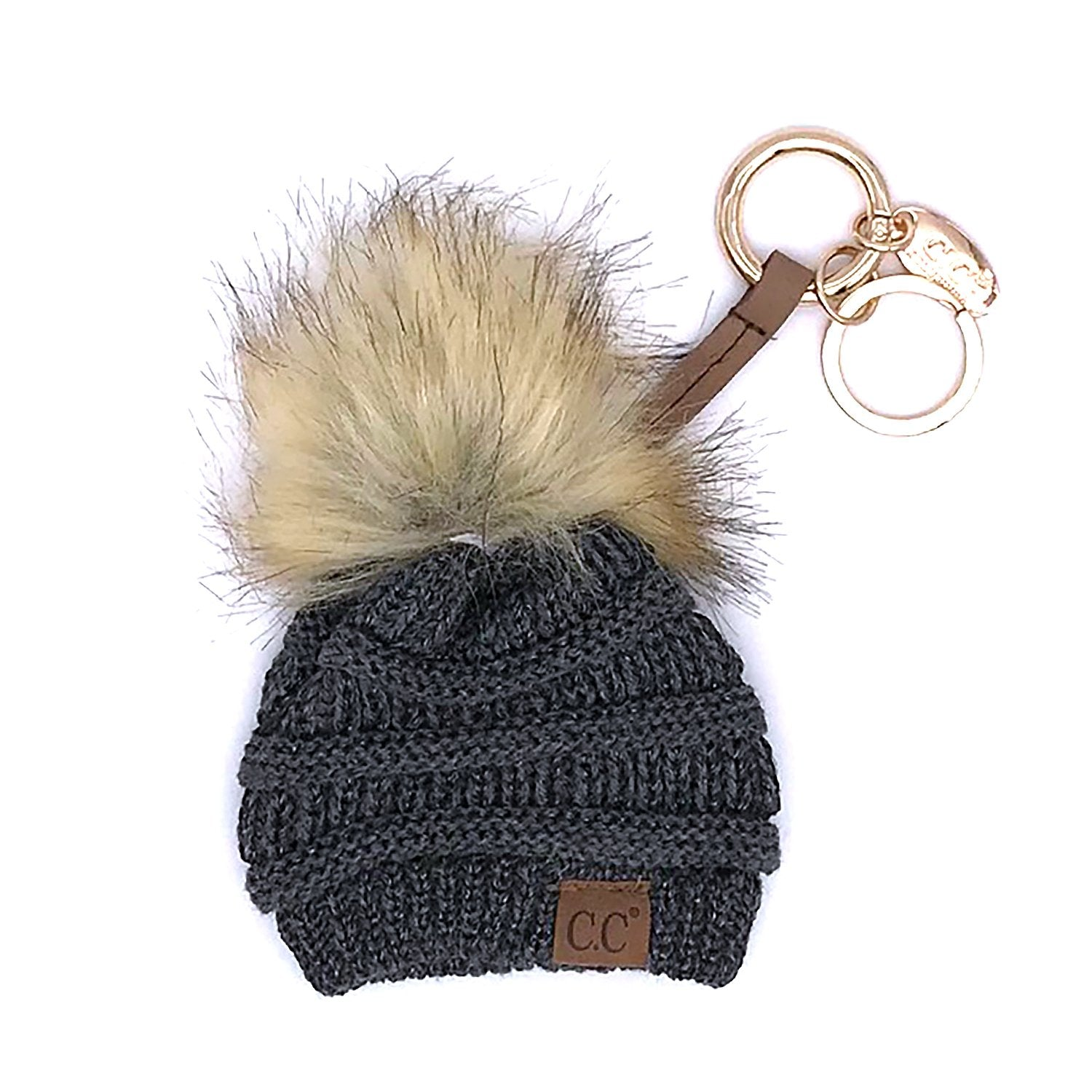 KB-43 Keychain W/FAUX FUR POM-Metallic Dark Melange Grey