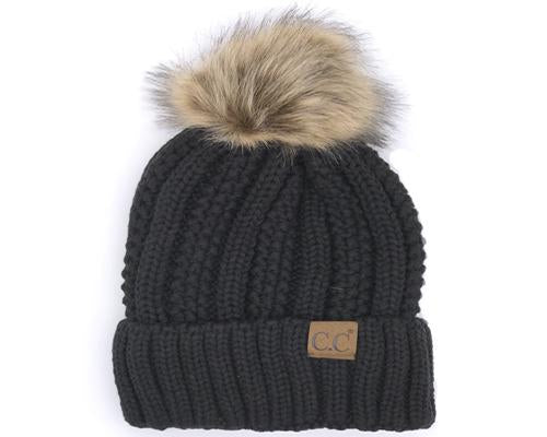 KIDS-820 SHERPA LINED BEANIE W/FAUX FUR POM - BLACK