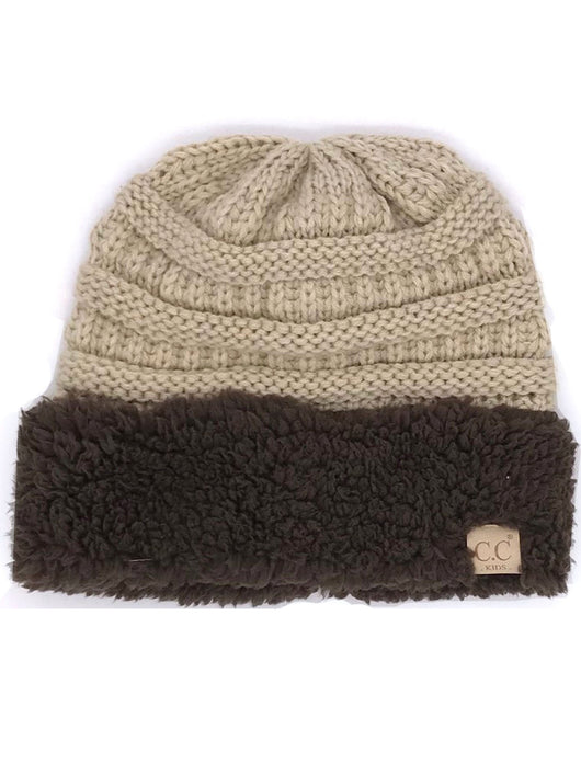 KIDS-88 SHERPA BEANIE BEIGE WITH BROWN