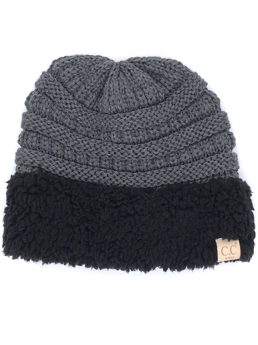 KIDS-88 SHERPA BEANIE DARK MELANGE WITH BLACK