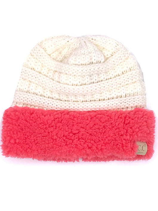 KIDS-88 SHERPA BEANIE IVORY WITH CORAL