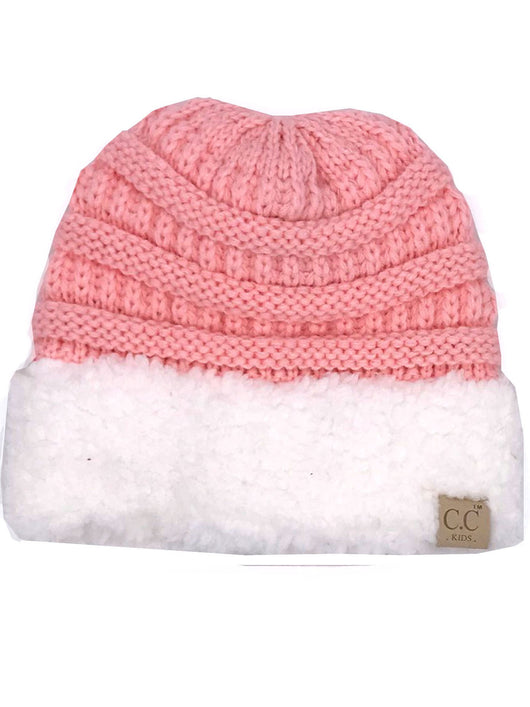 KIDS-88 SHERPA BEANIE LIGHT PINK WITH WHITE