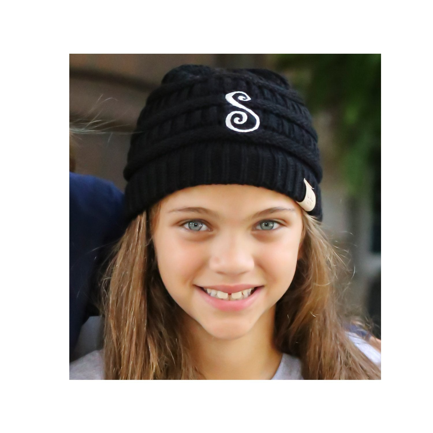 BJ-Kids-1 Initial Beanie Black