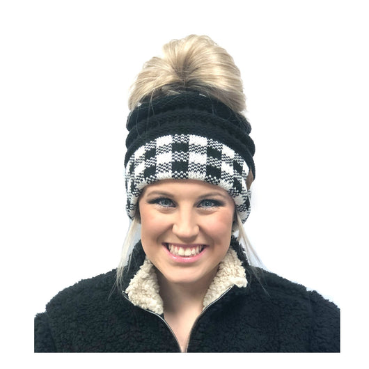 MB-17 BUFFALO PLAID MESSY BUN BLACK WHITE/BLACK
