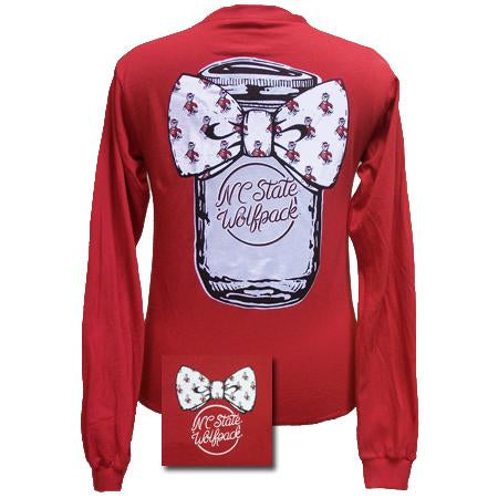 Back View of NCST Bowtie Mason Jar Red Long Sleeve Shirt