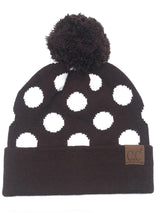 PD-21 Hat Polka Dot Beanie Brown/White