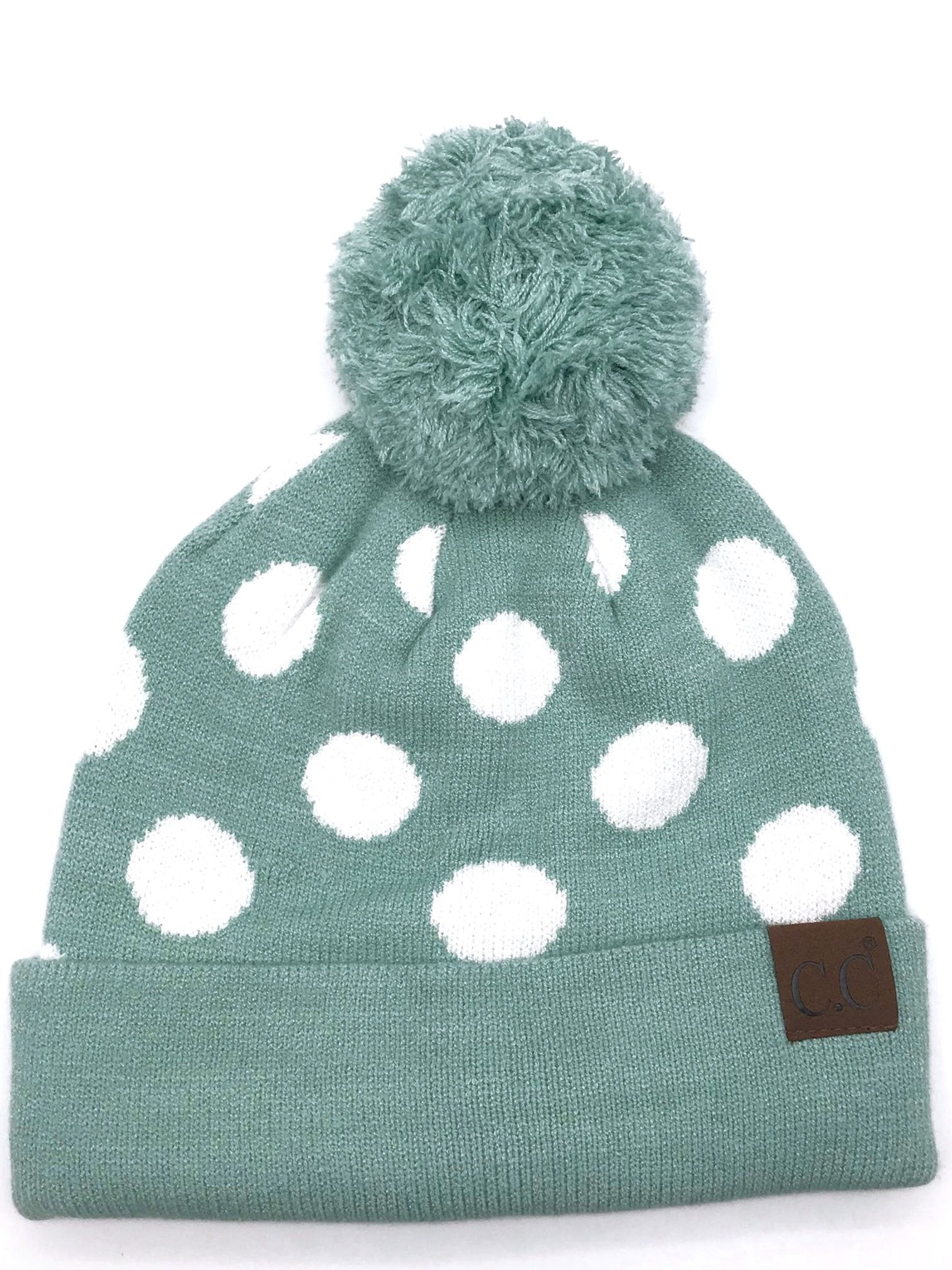 PD-21 Hat Polka Dot Beanie Mint/White