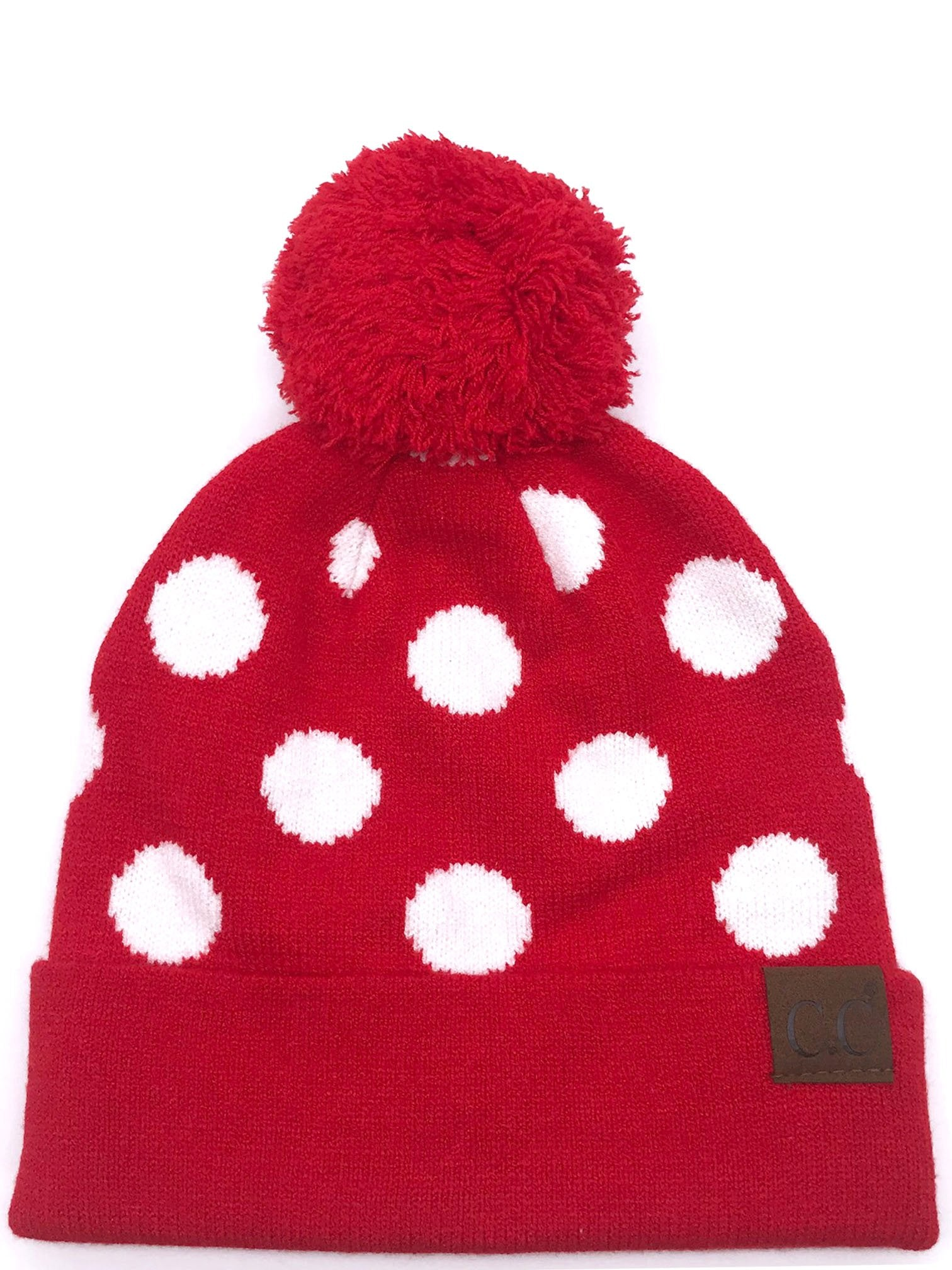 PD-21 Hat Polka Dot Beanie Red/White