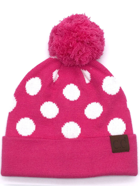 PD-21 Hat Polka Dot Beanie New Candy Pink/White